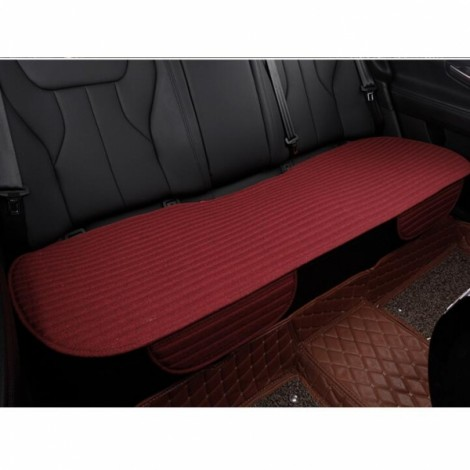 Universal Linen Ventilated Breathable Nonslip Car Backseat Rear Seat Cushion Cover Pad Mat - Wine Red