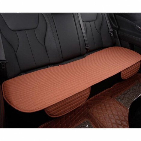 Universal Linen Ventilated Breathable Nonslip Car Backseat Rear Seat Cushion Cover Pad Mat - Dark Orange