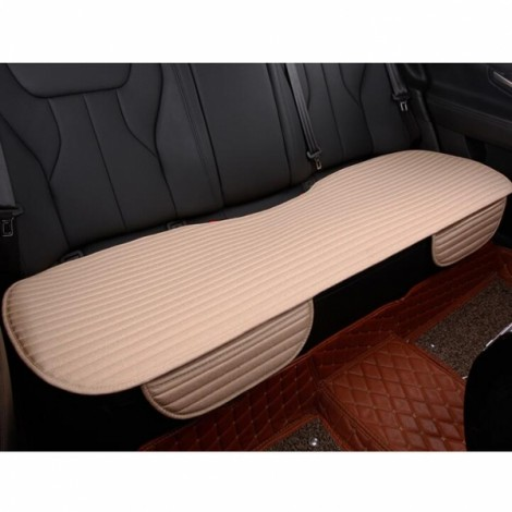 Universal Linen Ventilated Breathable Nonslip Car Backseat Rear Seat Cushion Cover Pad Mat - Beige
