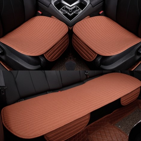 3Pcs/Set Universal Linen Ventilated Breathable Nonslip Car Front Back Seat Cushion Cover Pad Mat - Dark Orange