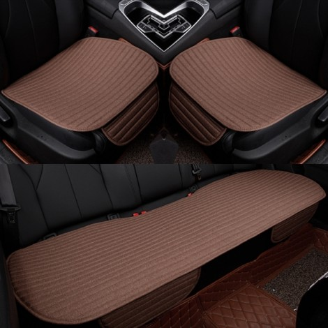 3Pcs/Set Universal Linen Ventilated Breathable Nonslip Car Front Back Seat Cushion Cover Pad Mat - Coffee