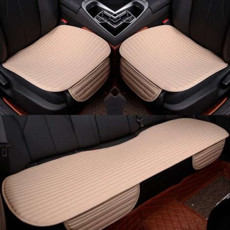 3Pcs/Set Universal Linen Ventilated Breathable Nonslip Car Front Back Seat Cushion Cover Pad Mat - Beige