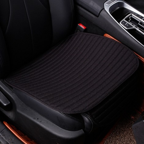 Universal Linen Ventilated Breathable Nonslip Car Front Seat Cushion Cover Pad Mat - Black