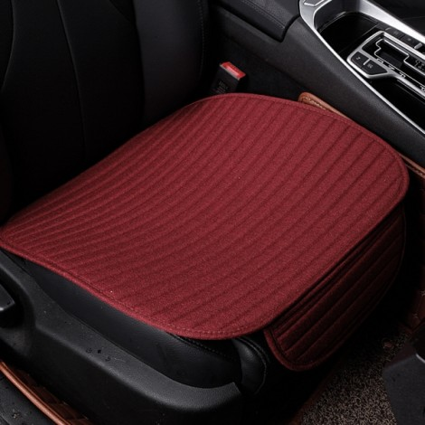 Universal Linen Ventilated Breathable Nonslip Car Front Seat Cushion Cover Pad Mat - Wine Red