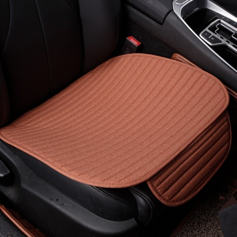 Universal Linen Ventilated Breathable Nonslip Car Front Seat Cushion Cover Pad Mat - Dark Orange