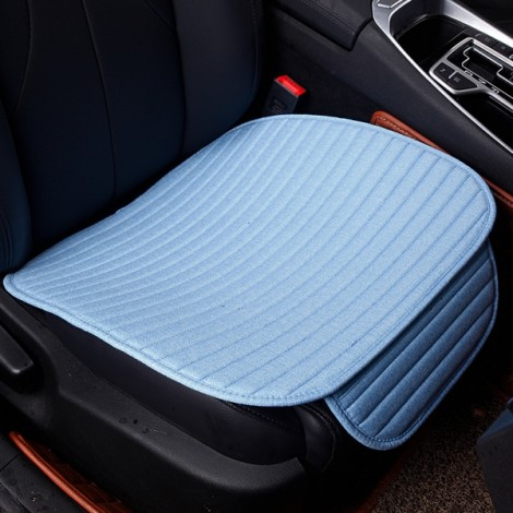 Universal Linen Ventilated Breathable Nonslip Car Front Seat Cushion Cover Pad Mat - Blue