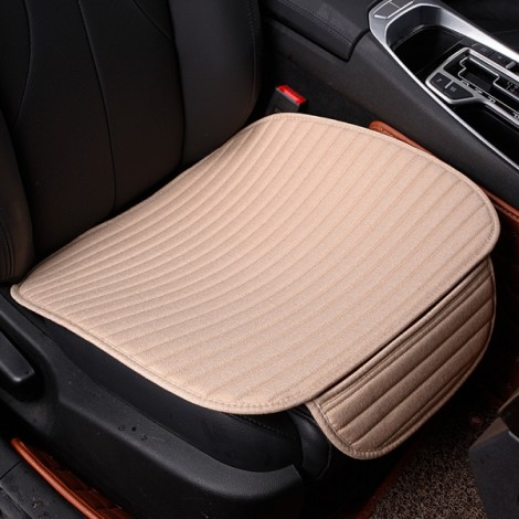 Universal Linen Ventilated Breathable Nonslip Car Front Seat Cushion Cover Pad Mat - Beige