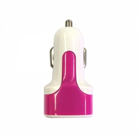 Dual USB 3.1A Car Charger with Voltage Display Rose Red