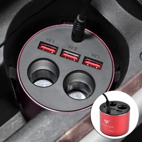BEAUTY-CAY B-084 Vehicle Lighter 4.2A 3 USB Charger Black & Red