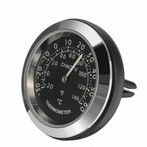 Car A/C Vent Clip Thermometer Clock Gauge Trim Perfume Refill Storage Fragrance with 140g Perfume-Black Thermometer + Black Clock