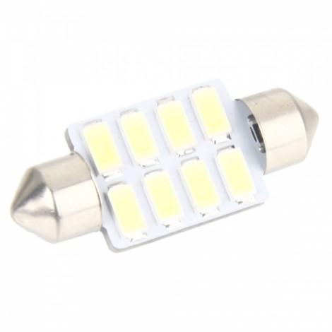 12V 36mm 8 LED Bicuspid Car LED Light Bright White Light