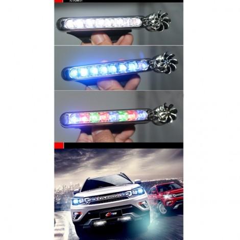 2pcs 12V Car Lights Wind Power White Light Daytime Running Lights with Fan Rotation White