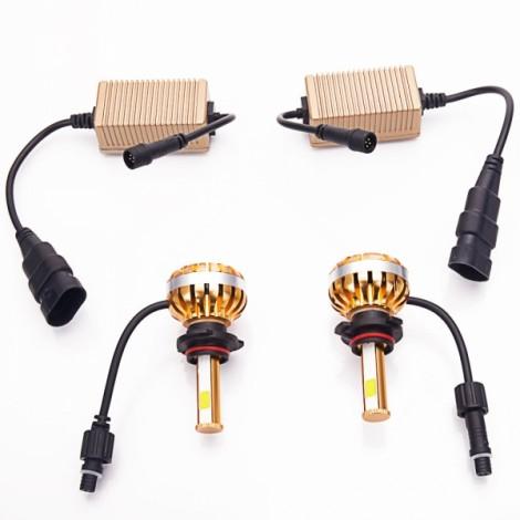 9006 40W 3000-6000K Waterproof Dual LED Headlamps + Ballasts Golden