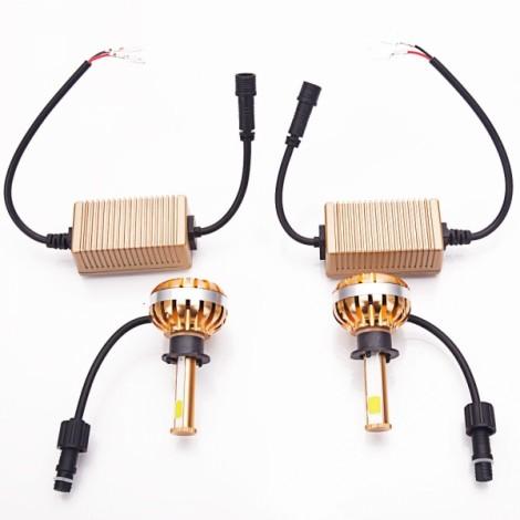 H1 40W 3000-6000K Waterproof Dual LED Headlamps + Ballasts Golden