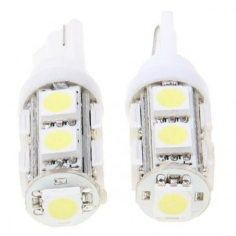 2pcs T10 9-SMD5050 LED White Light Car Interior Lamp (DC 12V)