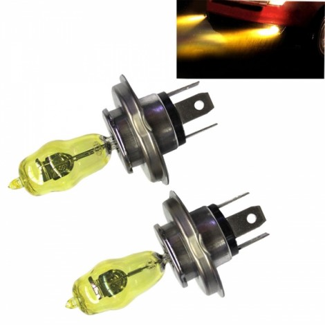 2pcs HOD H4 100/90W 2100LM 3000K Yellow Light LED Car Headlights