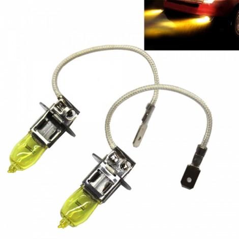 2pcs HOD H3 100W 1800LM 3000K Yellow Light LED Car Headlights