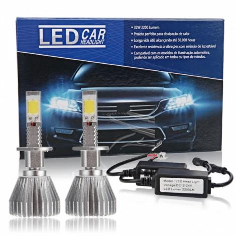2pcs H7 30W 6000K White Light Waterproof LED Headlights Silver White & Black