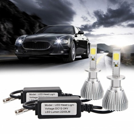 2pcs H4 30W 6000K White Light Waterproof LED Headlights Silver White & Black