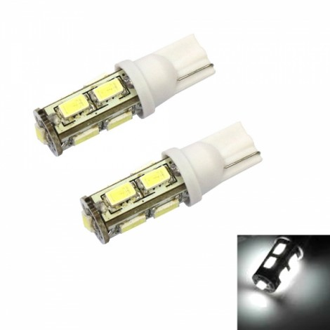 2pcs T10 Long Style 8W 9 x 5630LED 100LM 6000K White Light Car Turning Light Door Light License Plate Lights