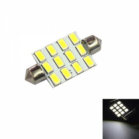 Festoon 39mm 7W 120LM 12 x 5630 6000K White Light Car Reading / Door Lamps (12V)