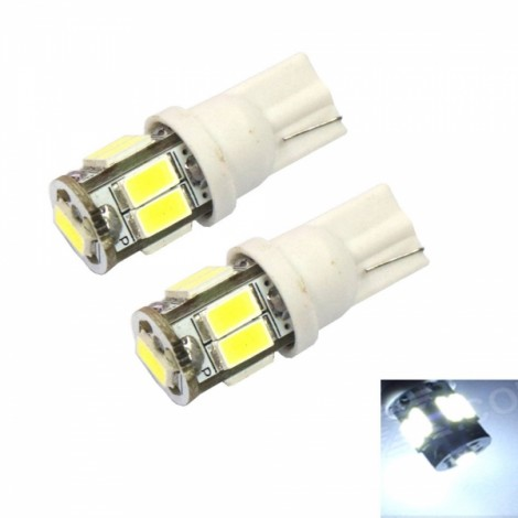 2pcs T10 8W 9 x 5630LED 100LM 6000K White Light Car Turning Light Door Light License Plate Lights