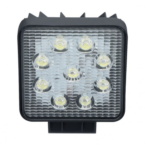 27W 9-LED 1800LM 6000K White Light Square Car Work Light Flood Light Black