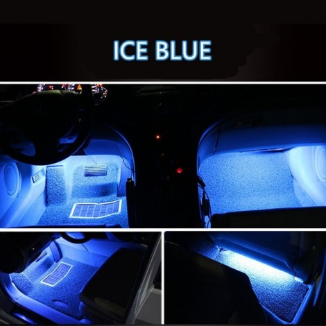 4 in 1 9LED 12V Car Styling Interior Dash Floor Foot Decoration Light Lamp Ice Blue