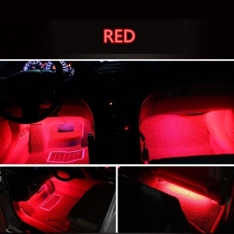 4 in 1 9LED 12V Car Styling Interior Dash Floor Foot Decoration Light Lamp Red