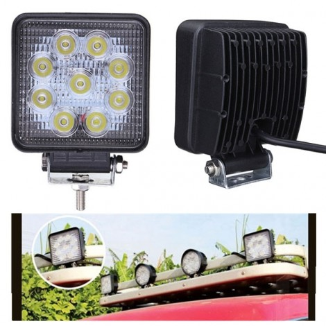 27W 9-LED White Light Square Car Work Light Flood Light