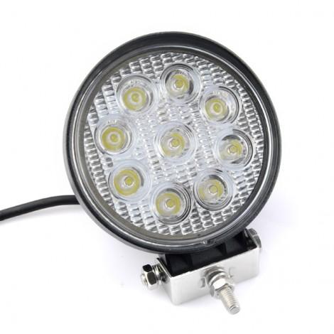 27W 9-LED White Light Round Car Work Light Flood Light Black