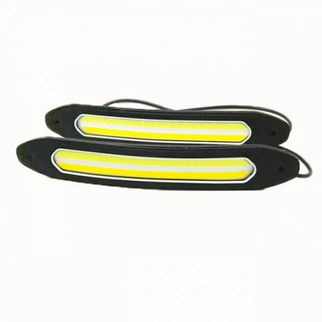 2pcs 10W Waterproof COB LED Daytime Running Lights Turning Signal DRL White/Yellow Car Head Lights