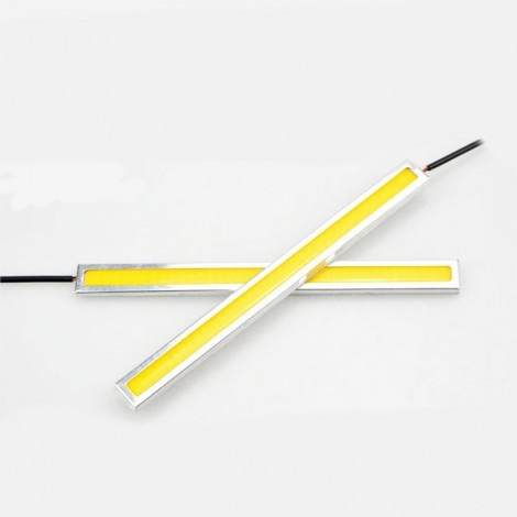1 Pair Waterproof 76-LED COB Car LED Light DRL Fog Driving Lamp Light 17cm Yellow Light