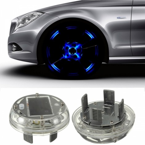 4-Mode 12-LED Colorful Car Auto Solar Powered Flash Wheel Hub Tire Rim Light Lamp