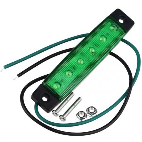 12V 6-LED Truck Bus Trailer Side Marker Indicator Light Lamp Green