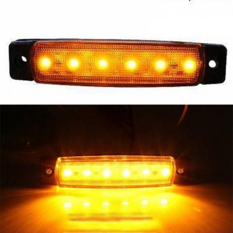 12V 6-LED Truck Bus Trailer Side Marker Indicator Light Lamp Yellow