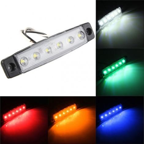 12V 6-LED Truck Bus Trailer Side Marker Indicator Light Lamp White
