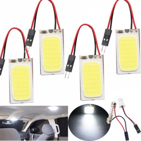 White 48 SMD COB LED 12V Car Interior Panel Light Dome Lamp Bulb