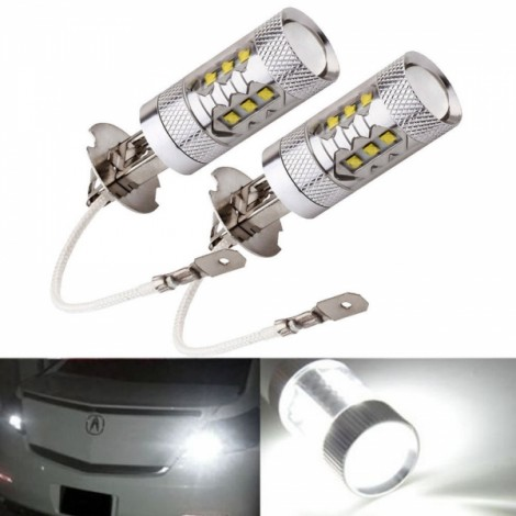 2pcs H3 80W Super Bright LED White Fog Tail Turn DRL Head Car Light Lamp Bulbs Silver