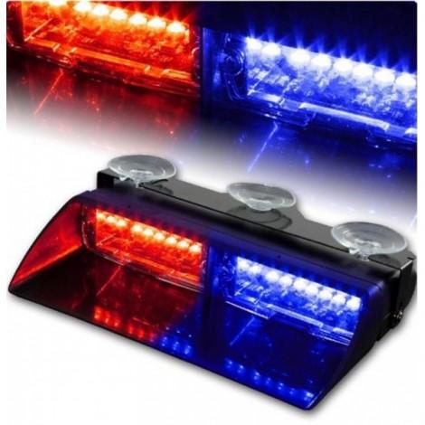 16 LED Red/Blue Police Strobe Flash Light Dash Car Emergency Flashing Light Black