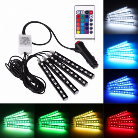 12V Car Atmosphere Interior RGB LED Strip Light with Remote Multicolor