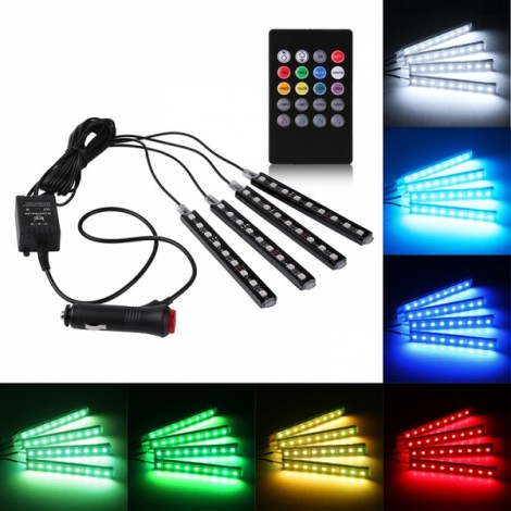 4 In 1 Sound Activated 9LED Remote Control Car Auto Interior Light Strip RGB