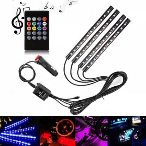 4 in 1 48 LED 12V RC Music Car Interior LED Strip Light