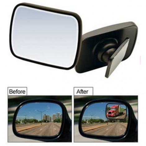2pcs Total View 360-Degree Adjustable Rear Side Blind Spot Mirrors Black