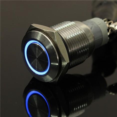 12V 16mm Angel Eye Metal Illuminated LED Push Button Switch Car Dash Blue Light