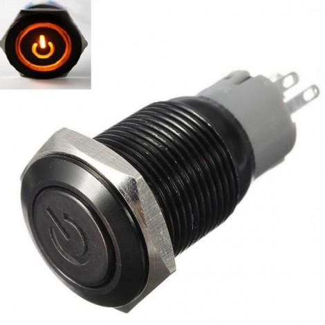 19mm 12V Car Black Aluminum LED Power Push Button Metal Switch Latching Type Orange Light