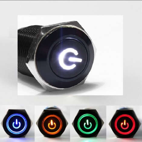 16mm 12V Car Black Aluminum LED Power Push Button Metal Switch Latching Type White Light