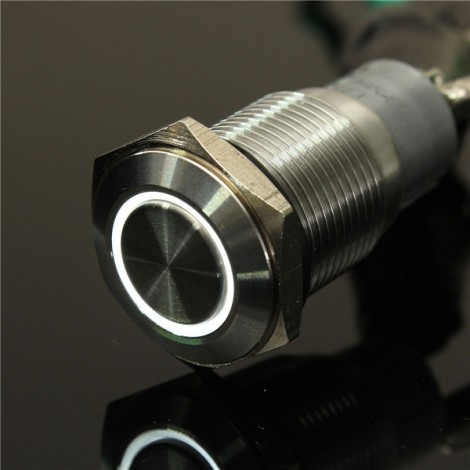 12V 16mm Angel Eye Metal Illuminated LED Push Button Switch Car Dash White Light
