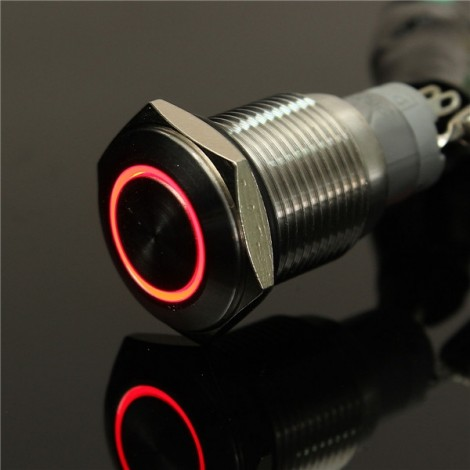 12V 19mm Angel Eye Metal Illuminated LED Push Button Switch Car Dash Red Light