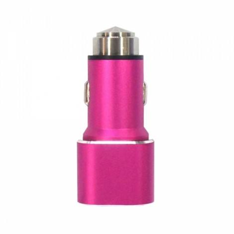Dual-port USB 2.1A 12-24V Square Safety Stainless Steel Hammer Car Charger Rose Red